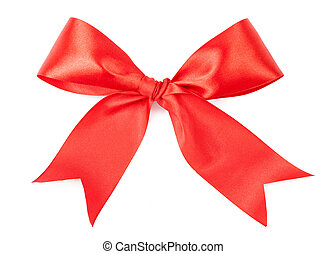 Scarlet bow isolated on white background