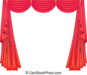 An image of curtains on white background