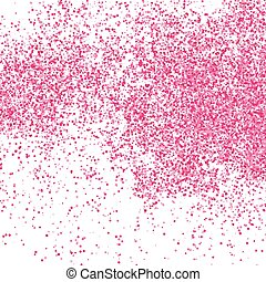 Scarlet explosion of confetti isolated on white.