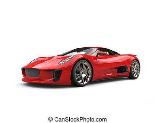 Scarlet red elegant sports car