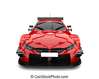 Scarlet red modern super race car - front view