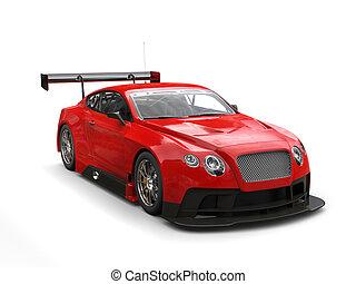 Scarlet red modern super sports car - studio shot