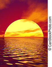 Scarlet sunset over ocean. 3D rendered scene