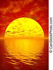 Scarlet Sunset - Scarlet sunset over ocean. 3D rendered ...