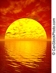 Scarlet Sunset - Scarlet sunset over ocean. 3D rendered ...