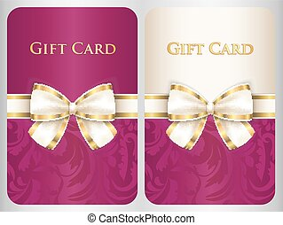 Scarlet vertical gift card with damask ornament and cream diagonal ribbon