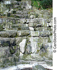 Scarp path - Stairs of stone blocks in the nature