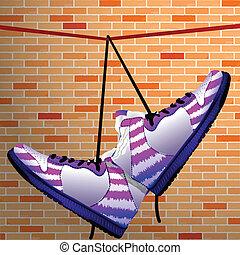 scarpe, appendere