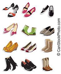 scarpe, cartone animato, icona