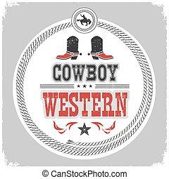 scarpe, cowboy, ovest, etichetta, decotarion, occidentale, selvatico