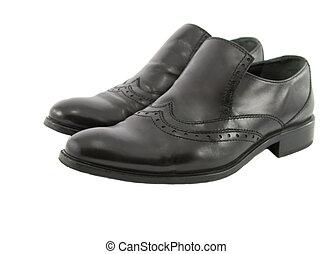 scarpe, cuoio, isolato, nero, maschio bianco