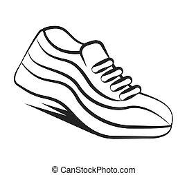 scarpe, isolato, corridore, tennis, icona