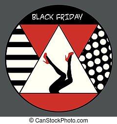 scarpe, manifesto, venerdì, disegno, nero, gambe, rosso