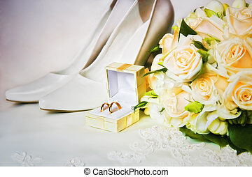 scarpe, mazzolino, anelli, alto, matrimonio, tallone