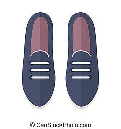 scarpe piatte, illustrazione, vettore, disegno, paio