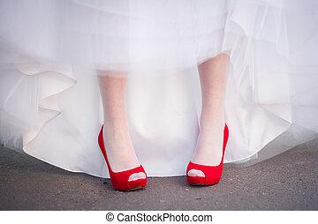 scarpe, rosso, matrimonio