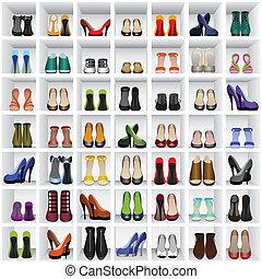 scarpe, su, mensole