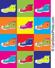 scarpe tennis, adolescente, fondo