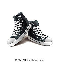 scarpe tennis, isolato, bianco, vettore