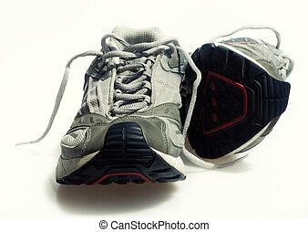 scarpe tennis, portato, istruttori
