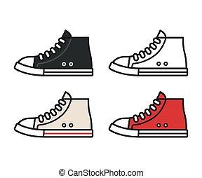 scarpe tennis, set, icona