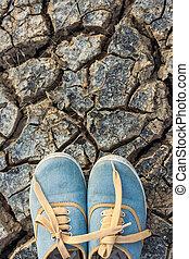 scarpe tennis, terra, a, dry.