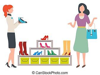 scarpe, vettore, donna, moda, boutique, scegliere