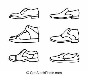 scarpe, vettore, set, contorno, icona