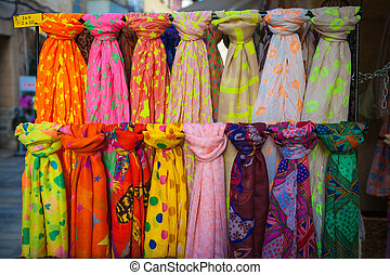 Scarves on a market
