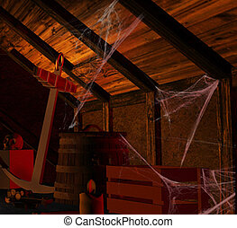 Scary Attic - Scary attic filled with dusty ancient...