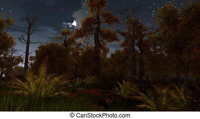 Scary dark autumn forest with fern thicket on foreground under starry night sky with fantastic big full moon. Natural background for horror and Halloween. 3D animation rendered in 4K