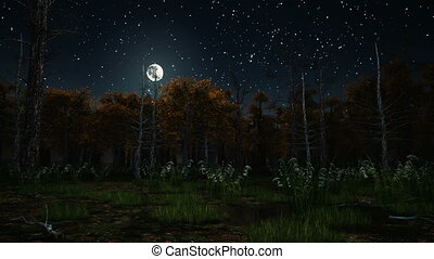 Big full moon in starry sky above scary mystical autumn forest with creepy dead trees and swamp on foreground at dark misty night. Halloween 3D animation rendered in 4K