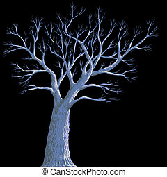 scary background, lonely old tree at night