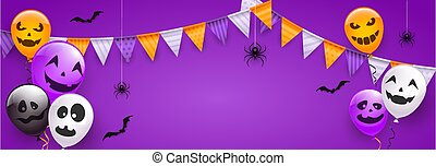 Scary Balloons and Spiders on Purple Halloween Background