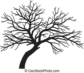 scary bare black tree silhouette (tree without leaves, tree...