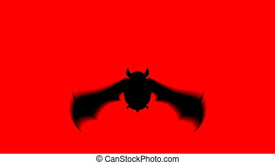 Scary bat animation for halloween on red background
