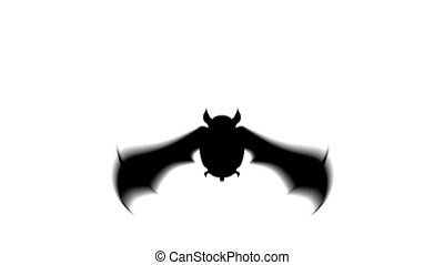 Scary bat animation for halloween on white background