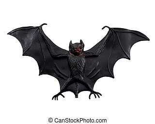 Scary Bat - Scary Halloween bat isolated on a white...