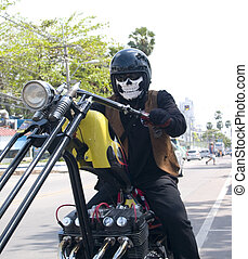 Scary biker - Motorcycle rider on a custom built chopper...
