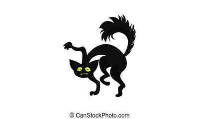 Scary black cat icon animation best object on white background