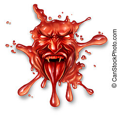 Scary blood with an evil halloween vampire character splattered and dripping on a white background as a spooky symbol of danger and fear as paranormal fantasy icon.