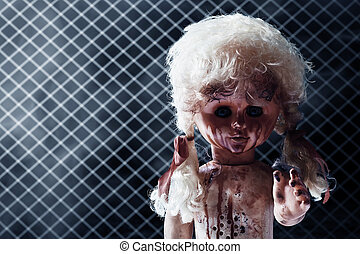 Scary bloody doll