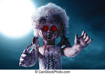 Scary bloody doll with red eyes