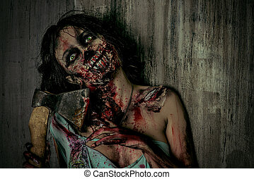 bloody zombie - Scary bloody zombie girl with an ax. ...