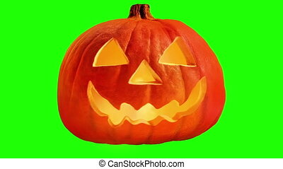 Scary Carved Pumpkin Face Greenscreen - Looped - Looped -...