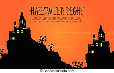 Scary Castle Landscape Halloween Day