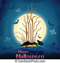 Scary cat in Halloween night