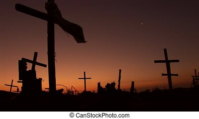 Scary Cementery with Sunset