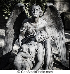 scary cemetery statue horror death