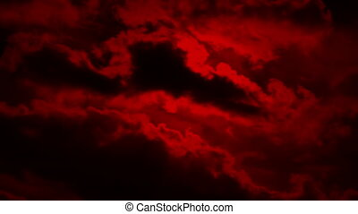 Scary Clouds On Red Sky - Ominous blood red sky with large...